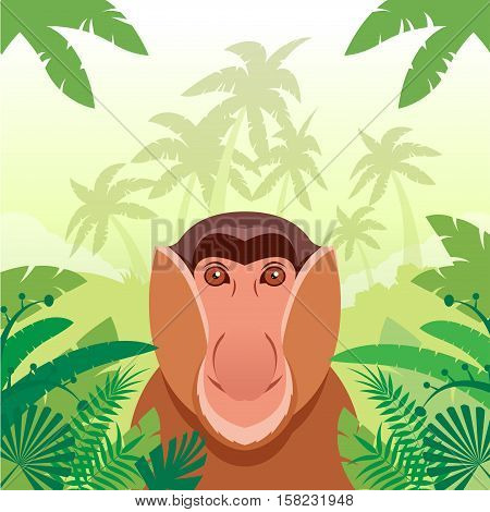 Flat Vector image of the Long-nosed monkey on the Jungle Background