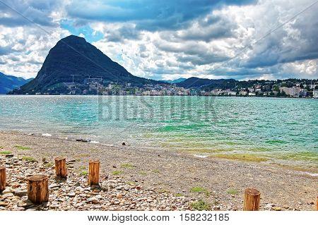 Beach In Lugano In Ticino In Switzerland