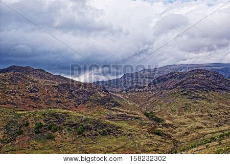 Beautiful Panoramic View To Chain Of Mountains Snowdonia National Park