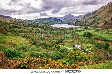 Beautiful Panoramic View To Mountains National Park Snowdonia
