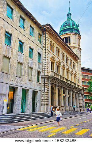 Belfry In City Center In Lugano In Ticino In Switzerland