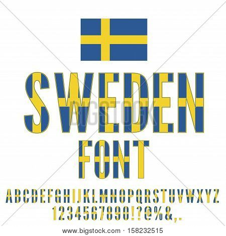 Sweden National flag flat stylized Font. Alphabet and Numbers in Vector Set