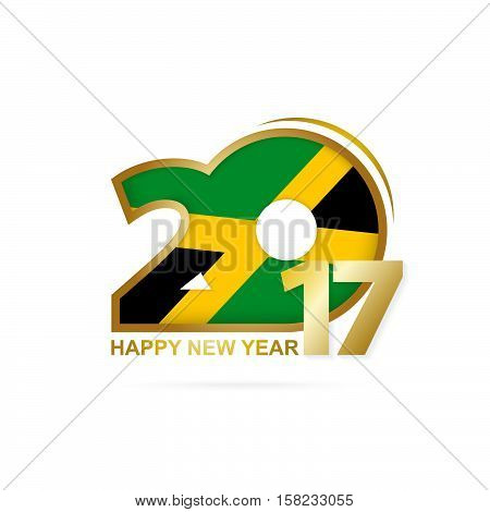 Year 2017 With Jamaica Flag Pattern. Happy New Year Design On White Background.