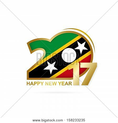 Year 2017 With Saint Kitts And Nevis Flag Pattern. Happy New Year Design On White Background.