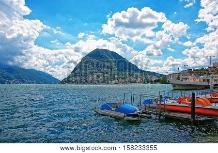 Boats At Landing Stage In Lugano In Ticino Of Switzerland