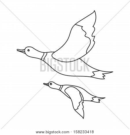 Ducks icon in outline style isolated on white background. Hunting symbol vector illustration.