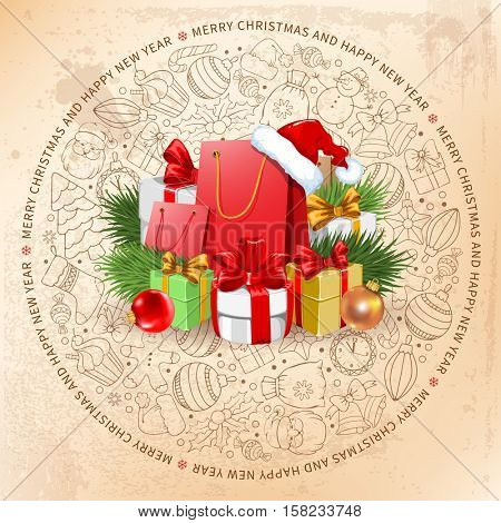 Festive Christmas and New Year Rounded Design with Holiday Gifts and Different Christmas Objects in Doodle Style on Background. Vector Illustration.