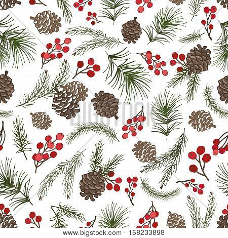 Christmas tree green branches, pine cone , red berries in seamless pattern background.Fir, spruce design element for backdrop, wallpaper, wrap.New year holiday vector
