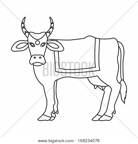 Sacred cow icon in outline style isolated on white background. India symbol vector illustration.
