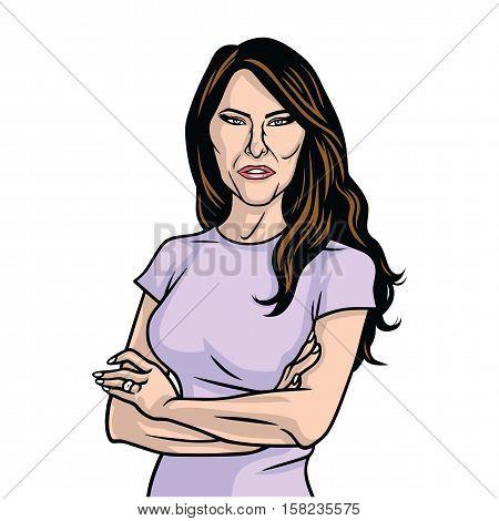 Melania Trump US First Lady Purple Dress Vector Portrait Caricature