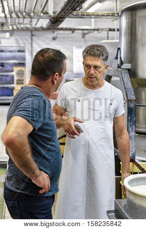 Cheesemaker Working In Gruyere Comte Cheese Dairy