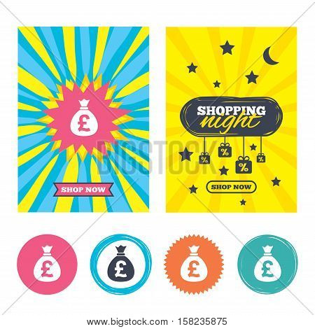 Sale banners, online shopping. Money bag sign icon. Pound GBP currency symbol. Shopping night. Vector