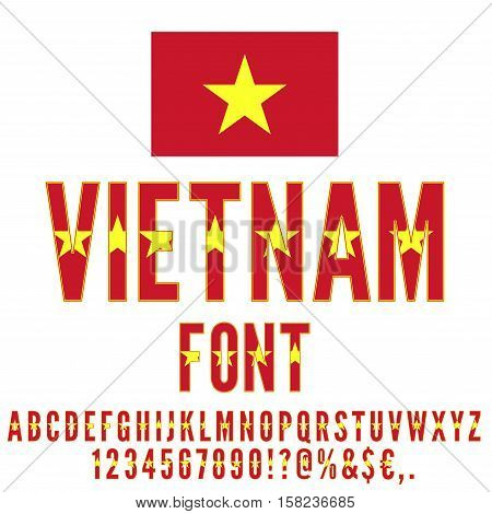 Vietnam National flag flat stylized Font. Alphabet and Numbers in Vector Set
