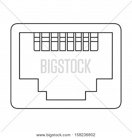 LAN port icon in outline style isolated on white background. Personal computer symbol vector illustration.