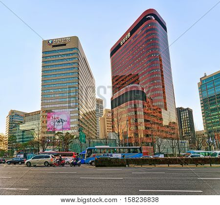 City Life With Skyscrapers  And Car Traffic In Jung District Seoul