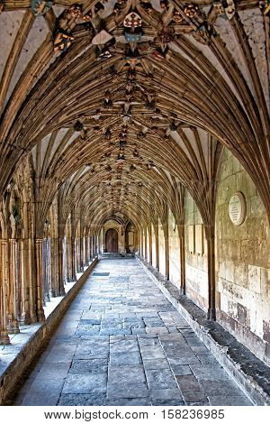 Cloister In Canterbury Cathedral In Kent Uk