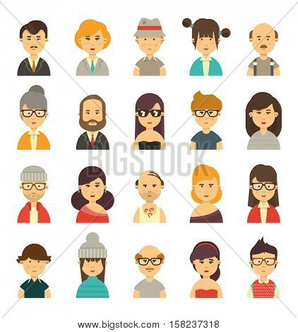 Cute avatars, character torsos of different type of people