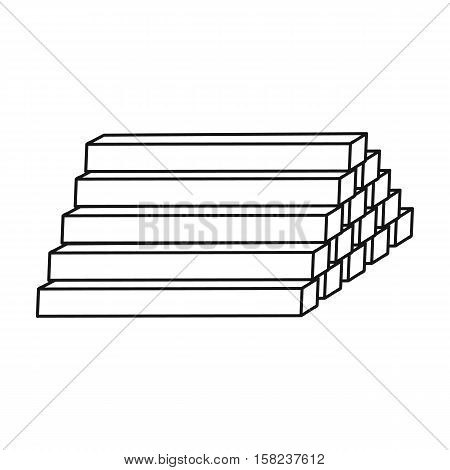 Stack of lumbers icon in  style isolated on white background. Sawmill and timber symbol vector illustration.