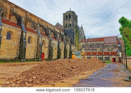 Construction Works At Vezelay Abbey In Bourgogne Franche Comte France