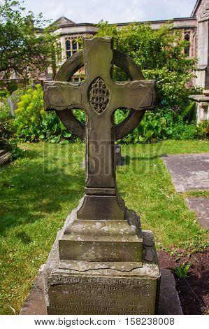Cross At Churchyard Cemetery At Bristol Cathedral Uk