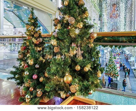Decorated Christmas Trees At Galerija Centrs In Old Riga Latvia