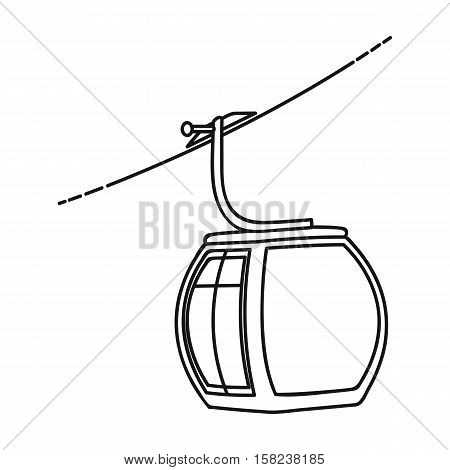 Funicular icon in outline style isolated on white background. Ski resort symbol vector illustration.