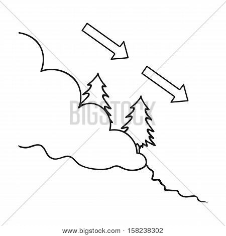 Avalanche icon in outline style isolated on white background. Ski resort symbol vector illustration.