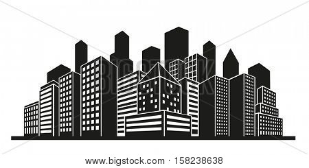 Vector silhouette of city with tall buildings and skyscrapers
