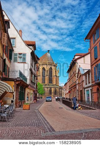 Eglise Street In Colmar In Alsace France