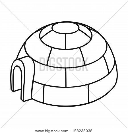 Igloo icon in outline style isolated on white background. Ski resort symbol vector illustration.