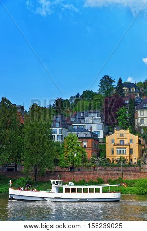 Embankment Of Neckar River And Ship In Heidelberg Of Germany