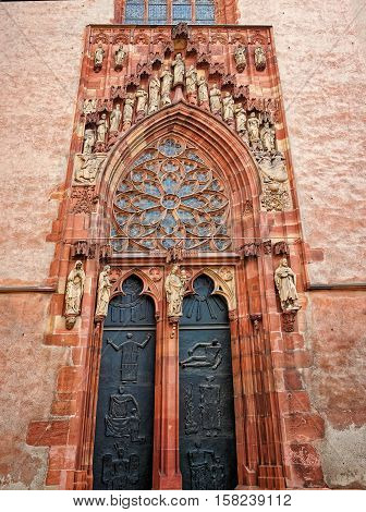 Entrance Door Of Frankfurt Cathedral In Frankfurt Am Main Germany