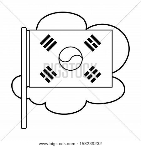 Flag of South Korea icon in outline style isolated on white background. South Korea symbol vector illustration.