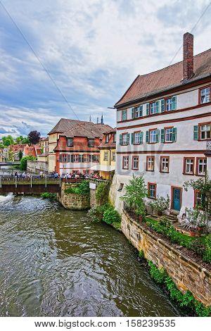 Fishermen Houses And Regnitz River In Little Venice Bamberg