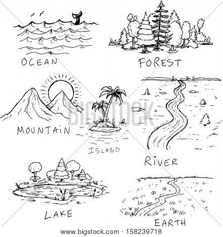 Hand drawn nature landscape illustrations