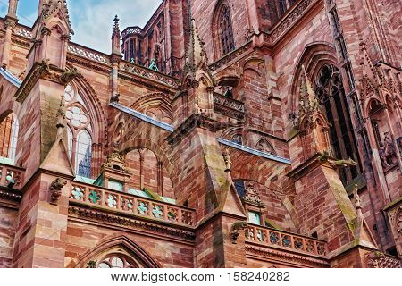 Fragment Of Strasbourg Cathedral In Grand East Region In France