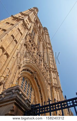 Fragment Of Tower Of Palace Of Westminster In London Uk
