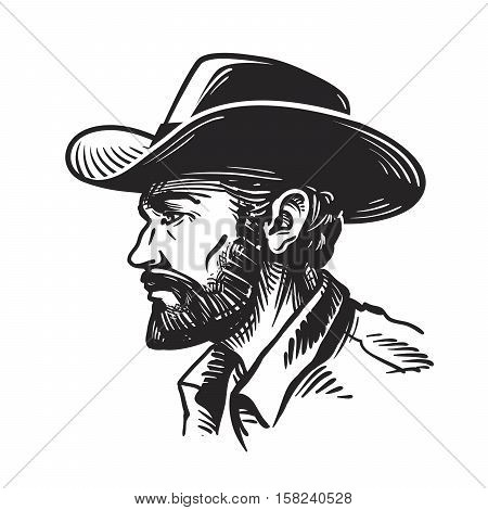 Portrait man in cowboy hat. Sketch vector illustration isolated on white background