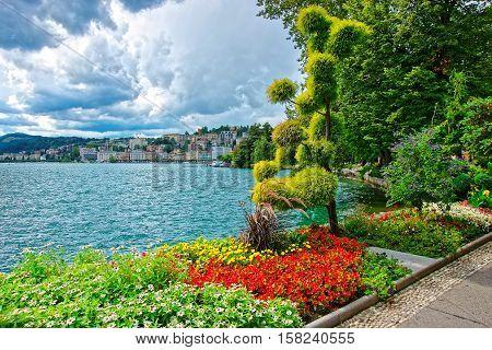 Garden Park At Promenade In Lugano In Ticino In Switzerland