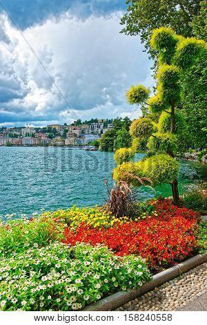 Garden Park At Promenade In Lugano In Ticino Of Switzerland