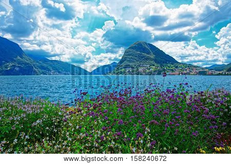 Garden Park At Promenade Of Lugano In Ticino In Switzerland