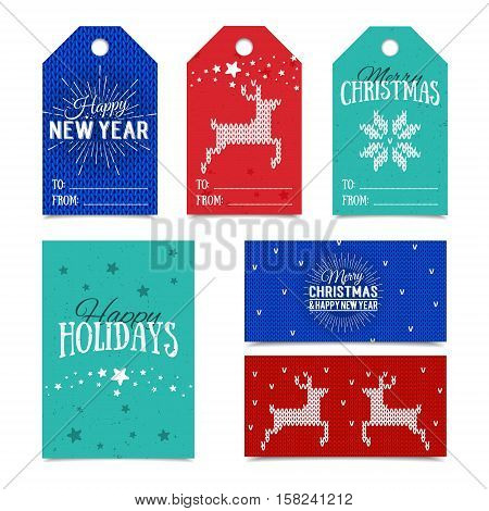 Collection of knitted Norwegian Christmas card templates. Colorful New Year present tags made in vector. Name cards for presents with Happy Holidays, Merry Christmas and Happy New Year lettering.