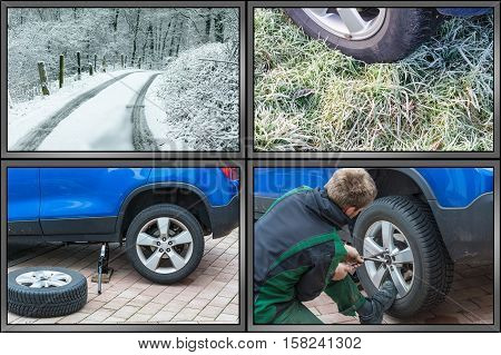 Workflow tire change. Summer tires dismantle winter tires mount. Image divided into 4 working steps.