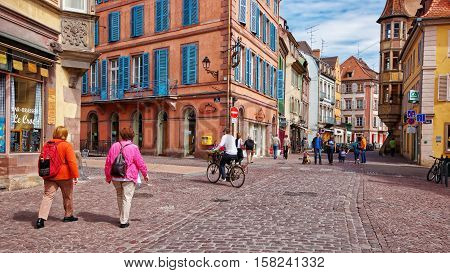 Grand Rue Street Of Colmar In Alsace France