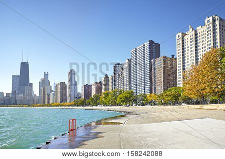 Early morning view of the Michigan Lakefront Trail in Chicago city Illinois USA.