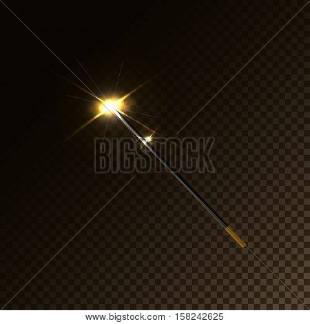 Magic Wand Vector illustration Glowing golden magic wand on a transparent background 3d effect