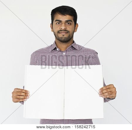 Indian Male Smiling Holding Placard Concept