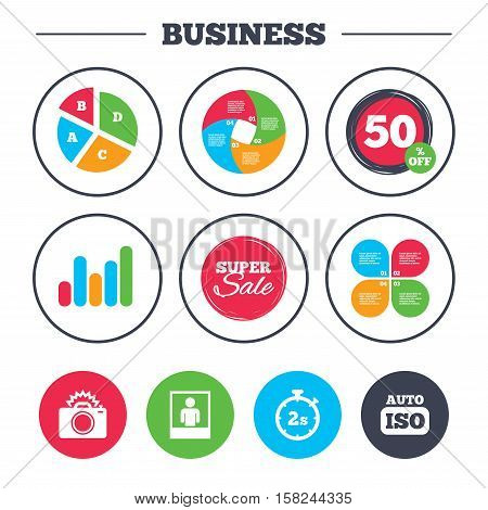 Business pie chart. Growth graph. Photo camera icon. Flash light and Auto ISO symbols. Stopwatch timer 2 seconds sign. Human portrait photo frame. Super sale and discount buttons. Vector