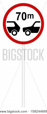 Prohibitory traffic sign isolated on white 3D illustration - Limiting the minimum distance
