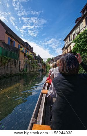 Little Venice Quarter And Boat In Colmar In Alsace